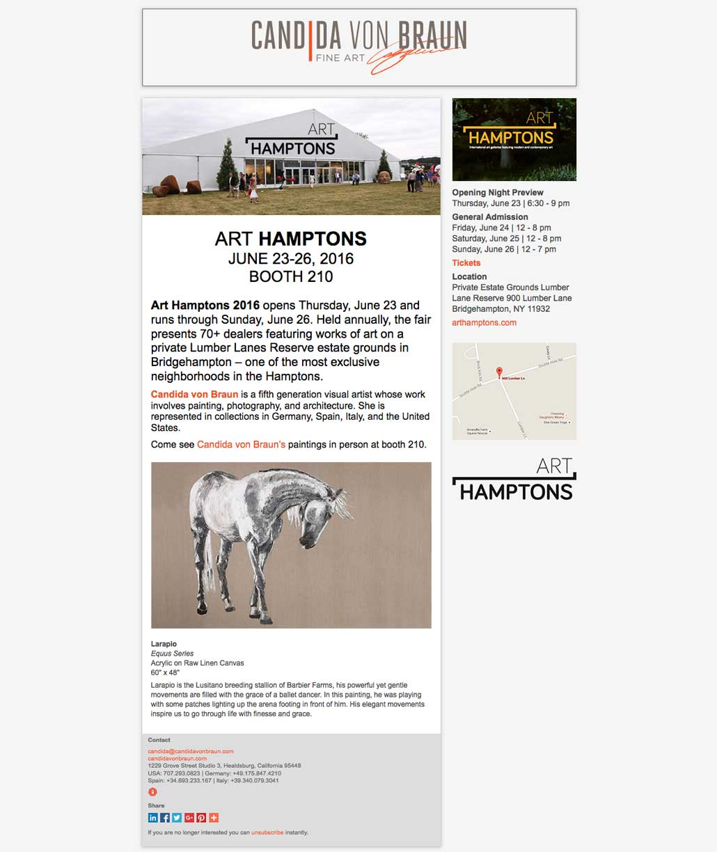 Candida von Braun Fine Art Hamptons E-blast