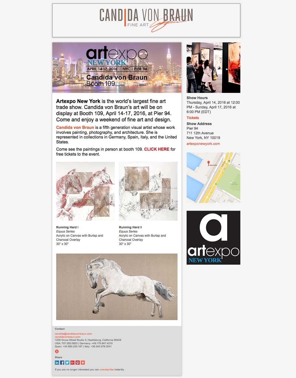 Candida von Braun Fine Art Artexpo New York E-blast