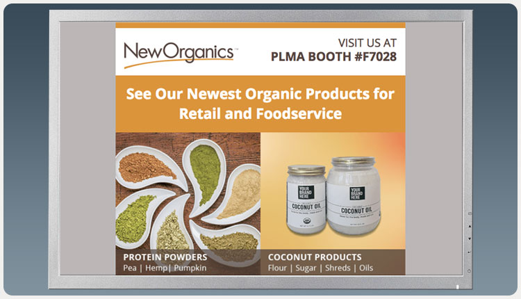 New Organics PLMA Exhibit Email Blast