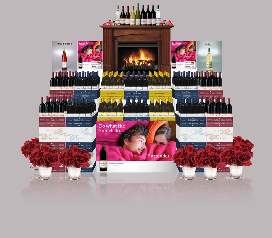 """Clos Du Bois """"Kiss & Tell"""" In-Store Promotional Display"""