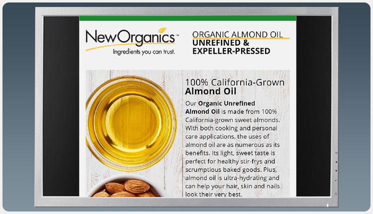 New Organics Organic Almond Oil Email Blast