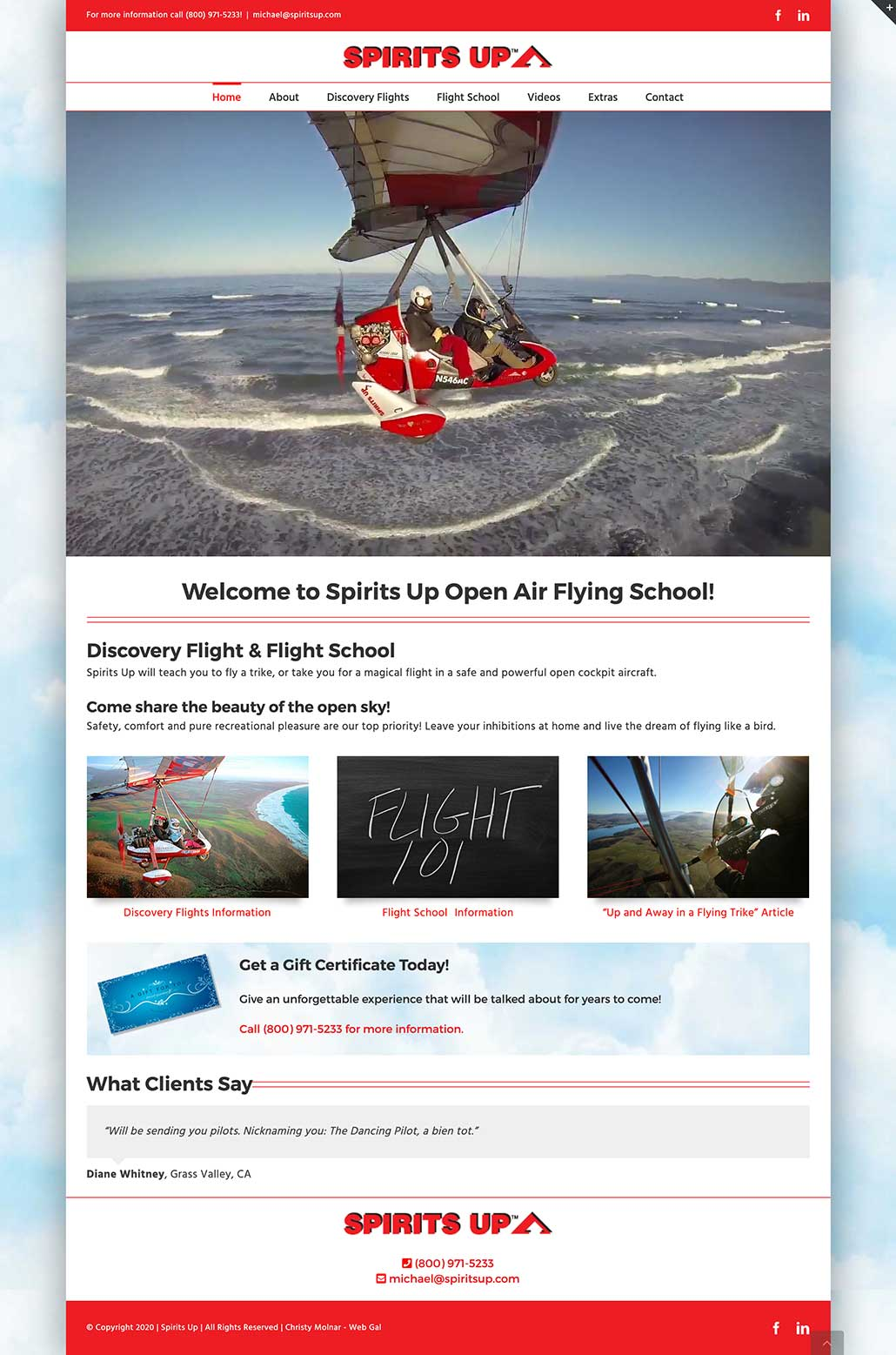 Welcome to Spirits Up Open Air Flying School